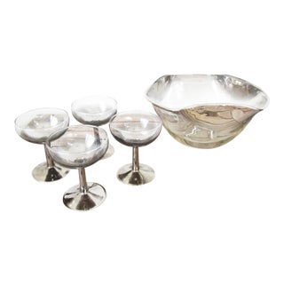 Mid Century Vintage Silver Ombre Champagne Glasses and Punch Bowl Set- 5 Pieces For Sale
