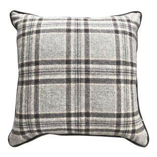 British Browns Tartan Plaid Wool Pillow With Contrast Piping For Sale