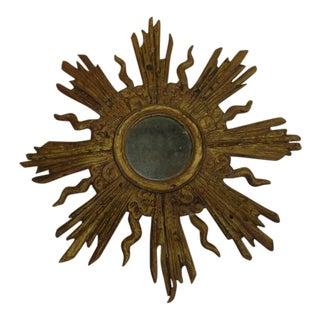 French Louis XIV Style Gilt Lead Sunburst Mirror
