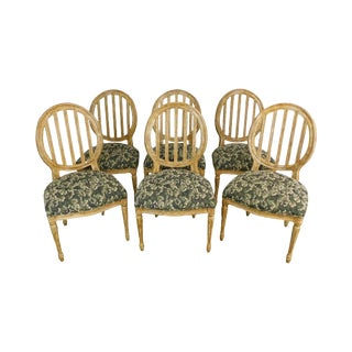 Custom Quality Set of 6 Distressed Painted Louis XVI Style Dining Chairs For Sale