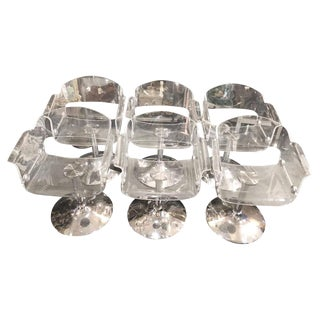 Set of 6 Mid-Century Modern Lucite Chrome Swivel Dining Armchairs For Sale