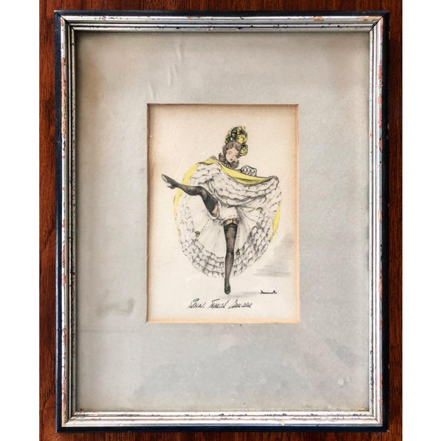 "1960's artist, Janicotte's water-color and pencil sketch series, ""Paris. French Cancan"" (in yellow) presented in vintage..."