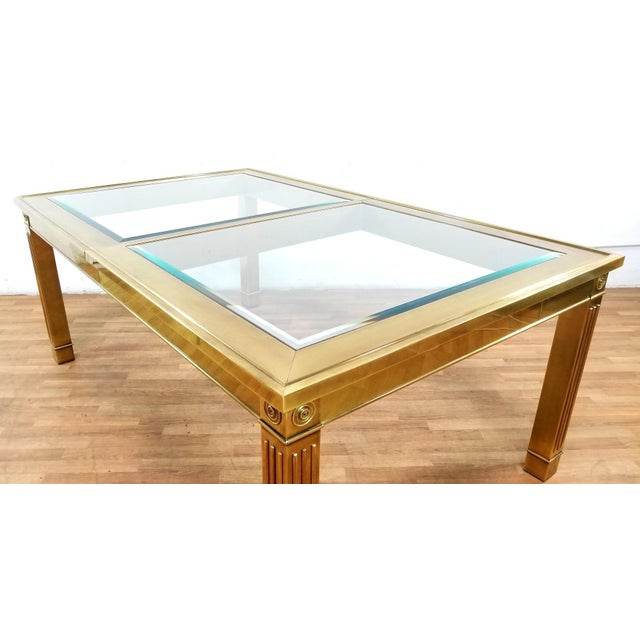 Mid-Century Modern Mastercraft Brass and Beveled Glass Extension Table With Columnar Legs For Sale - Image 10 of 13