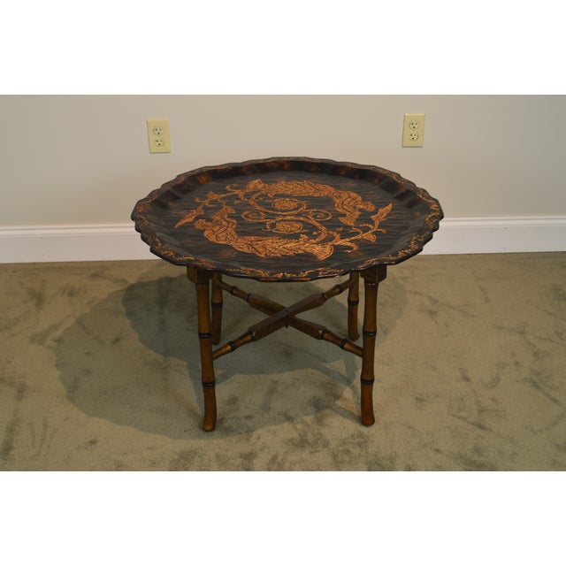 Faux Bamboo Black & Gold Crackle Painted Finish Pie Crust Tray Top Faux Bamboo Coffee Table For Sale - Image 7 of 13