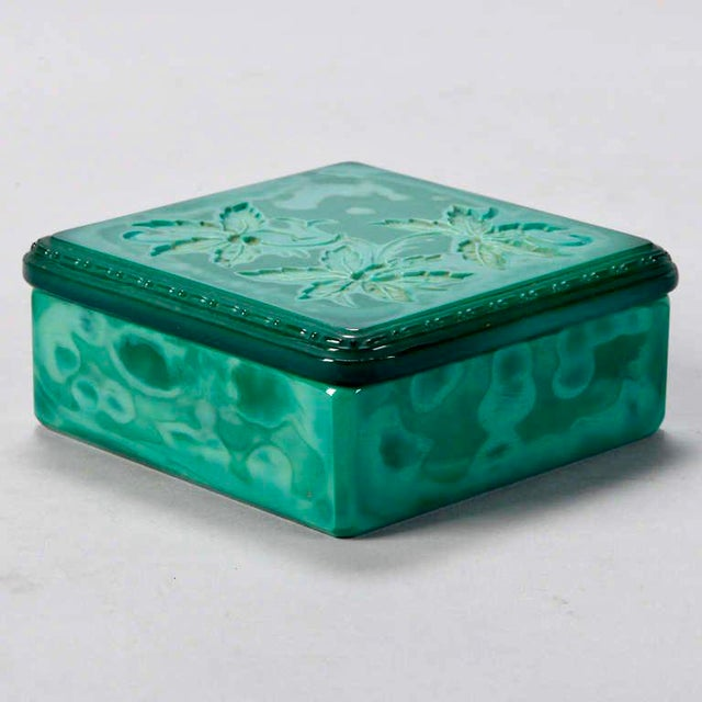 Art Deco Bohemian Czech Square Malachite Glass Box For Sale - Image 5 of 6