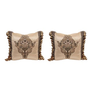 Pair 18th c. French Metal Thread Pillows For Sale