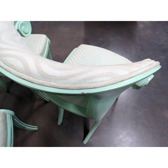 Art Deco Teal Lacquered Side Chairs - Set of 6 For Sale In Philadelphia - Image 6 of 8