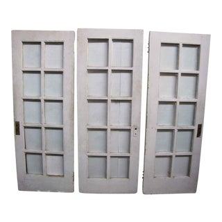 Glass Paneled Pine French Doors - Set of 3