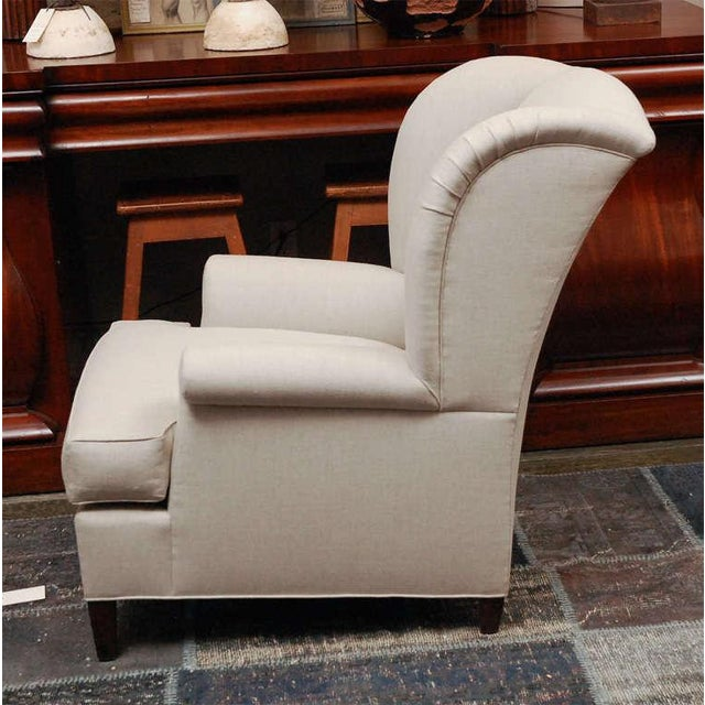 "Textile ""Worrell"" by Lee Stanton English Wing Chair in Belgian Linen or Custom Fabric For Sale - Image 7 of 11"