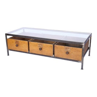 Custom Coffee Table Made of Iron, Glass and Antique French Wood Drawers For Sale