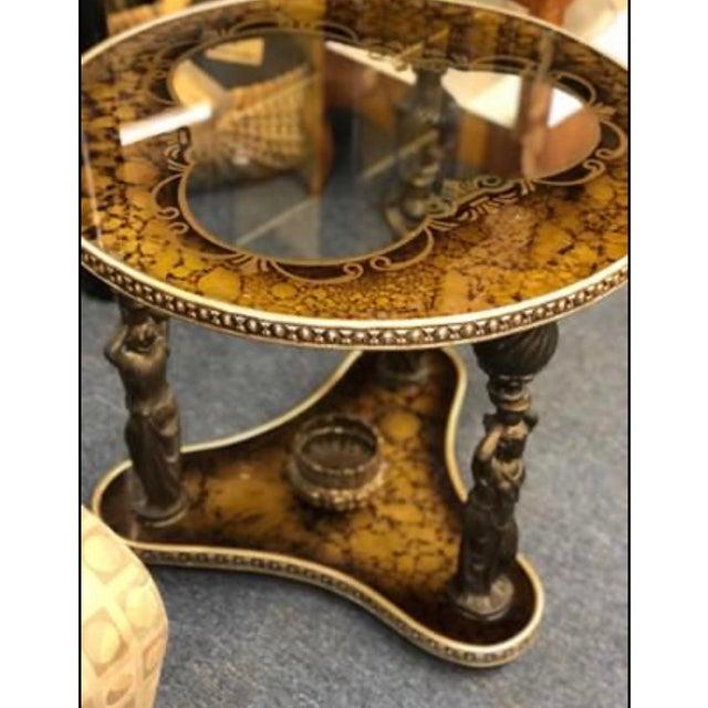 Art Deco Mid-Century Gold & Bronze Cherub Accent Table For Sale - Image 3 of 8