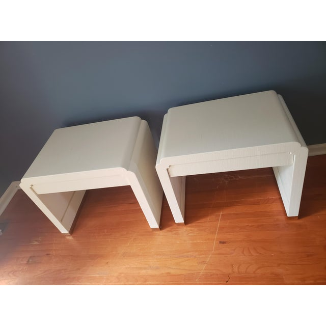 Linen Wrapped Nightstands by Ron Seff-a Pair For Sale - Image 9 of 12