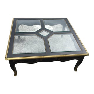 Mid Century Modern Brass and Lacquered Coffee Table by Drexel For Sale