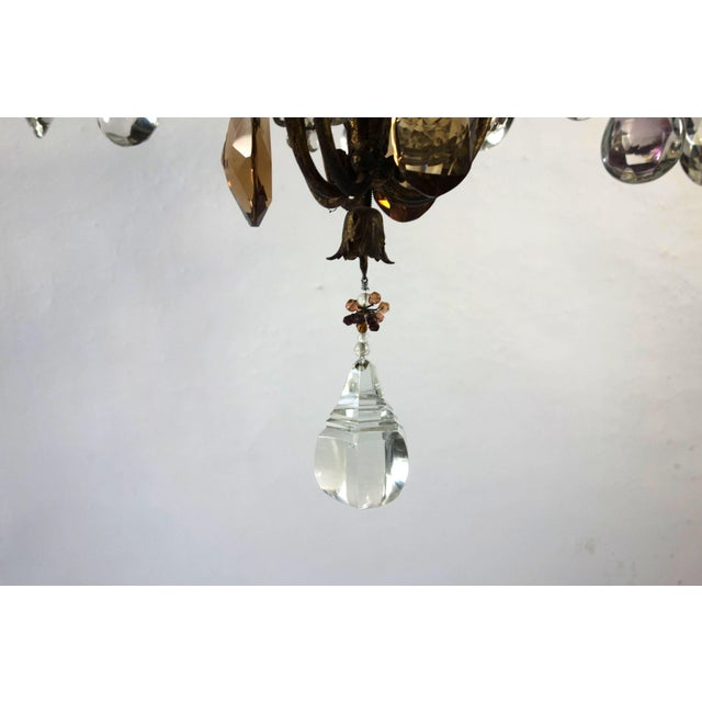 Metal French Candle Chandelier With Crystal Drops For Sale - Image 7 of 8