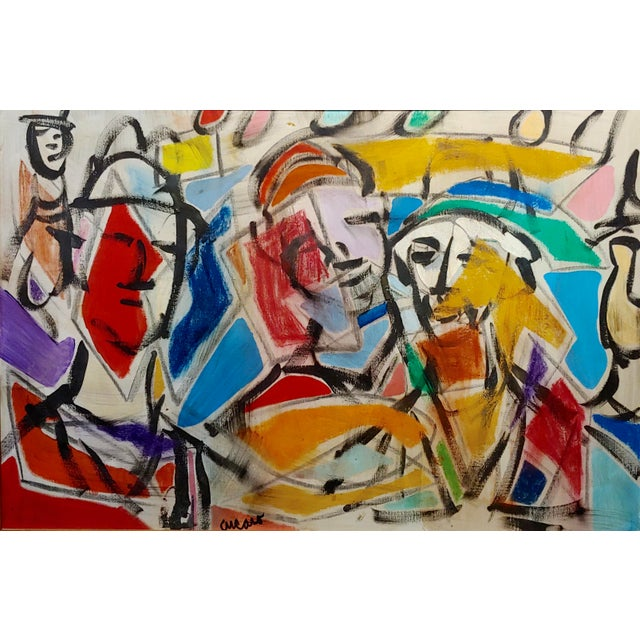 Abstract 1960s Pascal Cucaro Abstract Faces in a Landscape Oil Painting For Sale - Image 3 of 9