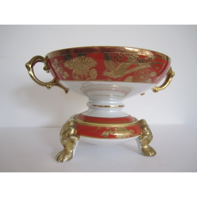 Vintage White, Orange and Gold Tazza with Paw Feet - Image 10 of 11