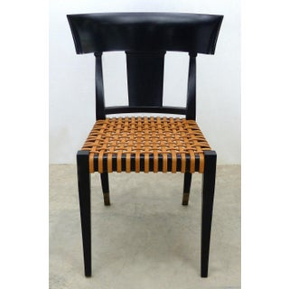 Luca Schacchetti Oak Design Edizoni Italy Lacquered Chairs W/ Leather -A Pair Preview