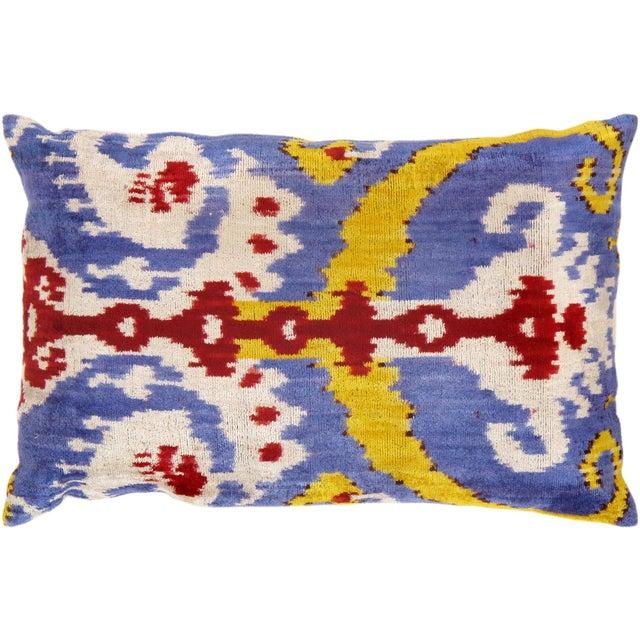 """Silk Velvet Ikat Pillows 16"""" X 24"""" For Sale"""