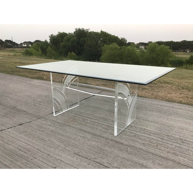 1980s Vintage Frosted Lucite Dining Table For Sale - Image 5 of 5