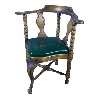 Late 19th Century Continental Corner Chair, Green Leather For Sale