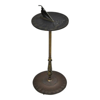 Vintage Virginia Metalcrafters Cast Iron & Brass Sundial Table