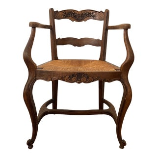 Antique French Brown Chair For Sale