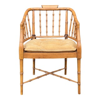 Casa Stradivari Faux Bamboo Fruitwood Armchair For Sale
