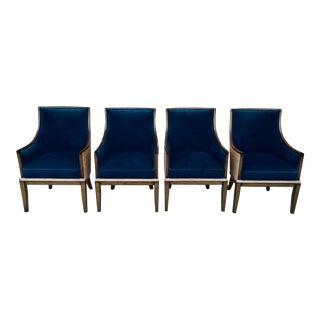 Barrel-Backed Armchairs W/ Exposed Wood & Roped Reed Grass Backs, Set of 4 For Sale