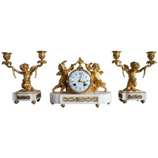 Late 19th Century Antique French Gilt Bronze and Marble Clock and Candelabra Set - 3 Pieces For Sale