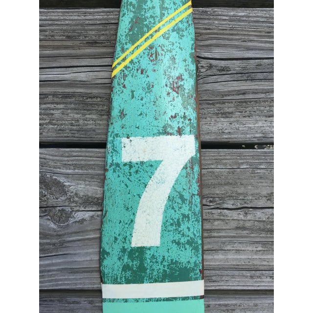 Lodge Vintage Seafoam Green & White Yellow Stripe Lucky Number 7 Painted Oar For Sale - Image 3 of 5