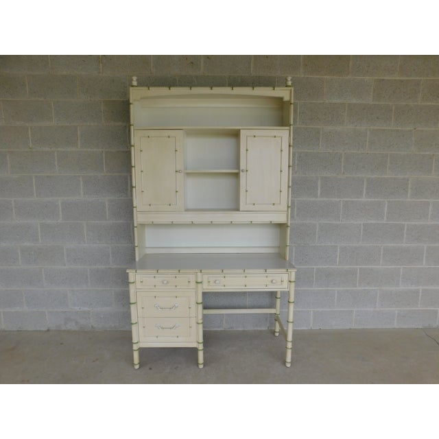 Mid 20th Century Thomasville Allegro Regency Style Faux Bamboo 3pc Desk Bookshelf and Chair For Sale - Image 5 of 13
