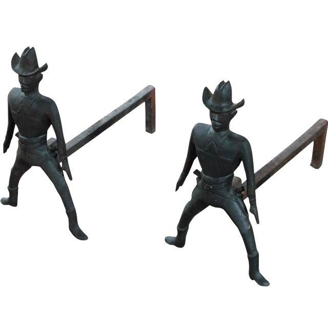 Vintage Cast Iron Figural Cowboy Andirons - A Pair - Image 1 of 9
