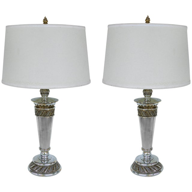 Stiffel Silvered Copper Torch Form Table Lamps - a Pair For Sale - Image 13 of 13