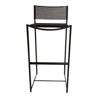 Mid Century Mod Hairpin Black Rubber Cord Strap Barstool For Sale