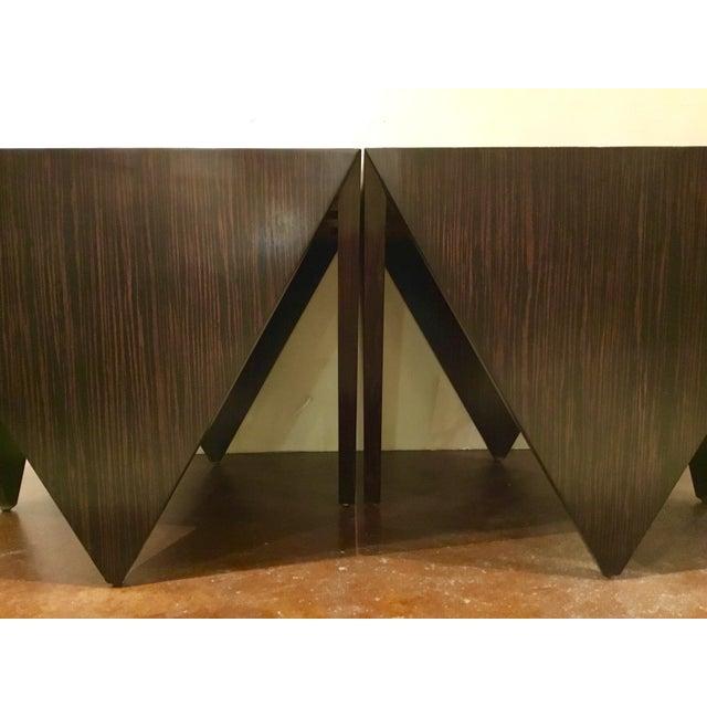 2010s John Richard Art Deco Inspired Macassar Ebony Finished Wood Amara Point Side Tables Pair For Sale - Image 5 of 6