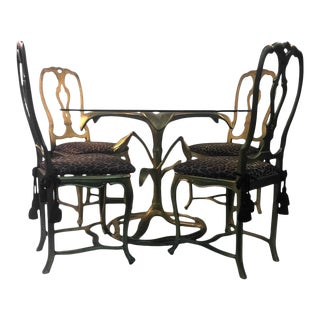 Arthur Court Gilded Tiger Lily Dining Table & Chairs - Set of 5