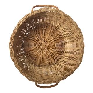Vintage Rustic Woven Basket For Sale