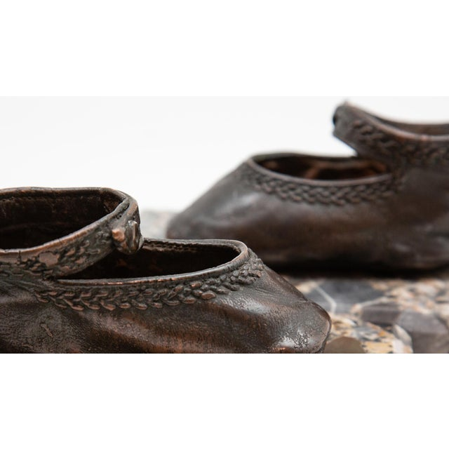 Early 20th Century Bronze Ballerina Style Baby Shoes Weights with Marble Base - A Pair For Sale - Image 5 of 6