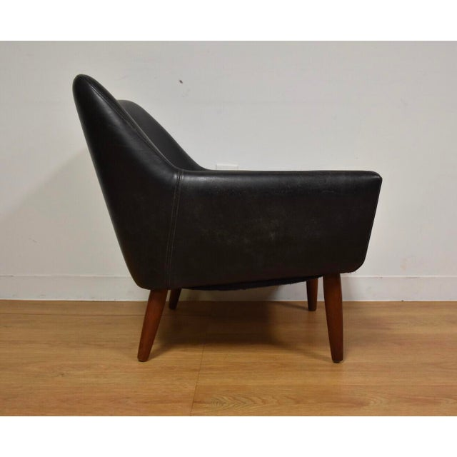 Danish Black Leather & Teak Lounge Chair For Sale - Image 5 of 10