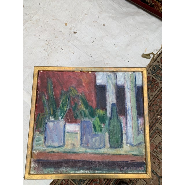 1960s French Still Life with Succulents Oil Painting, Framed For Sale - Image 4 of 4