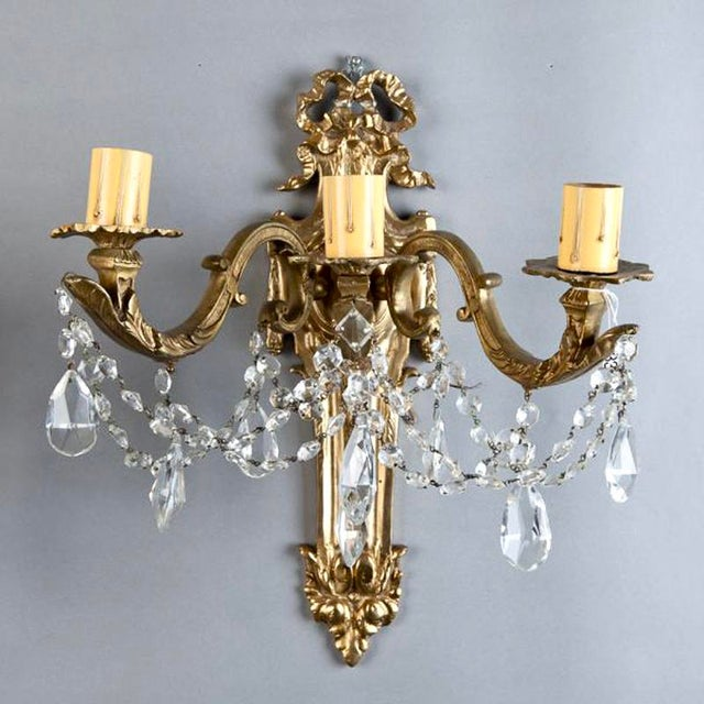 French Brass & Crystal Acanthus Rococo Style Three Arm Sconces - Pair For Sale - Image 5 of 7