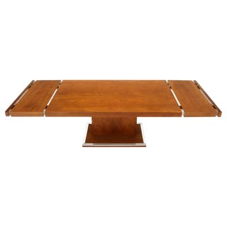 Walnut Single Pedestal Dinging Conference Table with Two Extension Boards For Sale