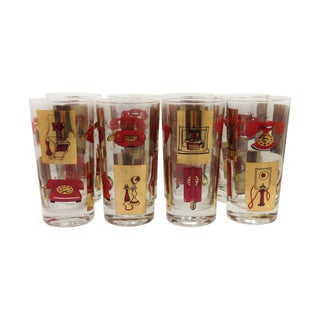 Telephone Highball Glasses - Set of 8