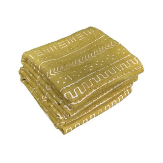 """Superb African Bogolan Mustard & White Mud Cloth Textile 68 """" by 42 """" Pair For Sale"""