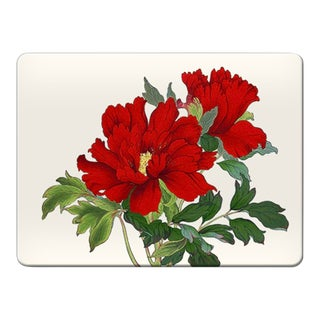 Italian Red Flowers Rectangular Placemat For Sale