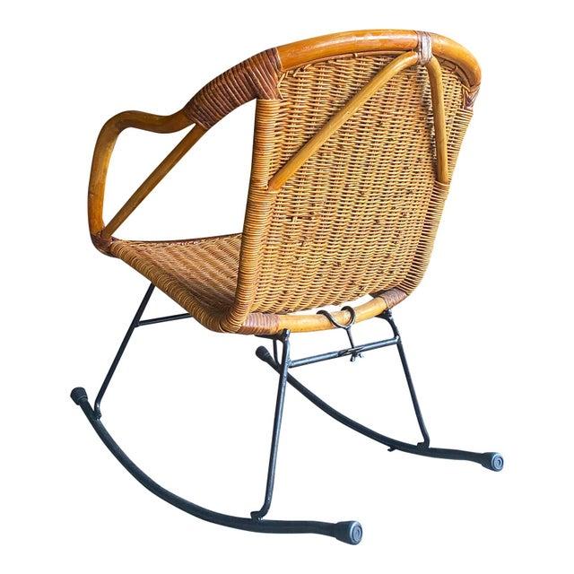 1960s Vintage Wrought Iron Woven Wicker Rattan Rocking Chair Chairish