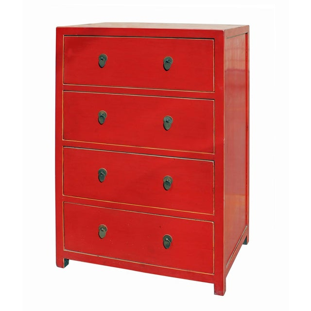 Contemporary Chinese Distressed Red 4 Drawer Storage Dresser For Sale - Image 3 of 5