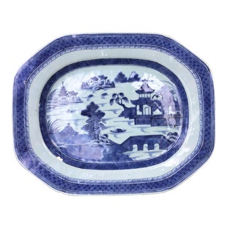 Antique Chinese Canton Blue and White Platter For Sale