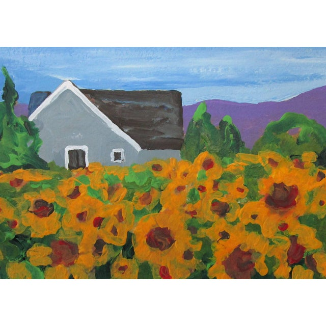 California Sunflower fields and farmhouse plein air art impressionist landscape acrylic painting by Lynne French. The...