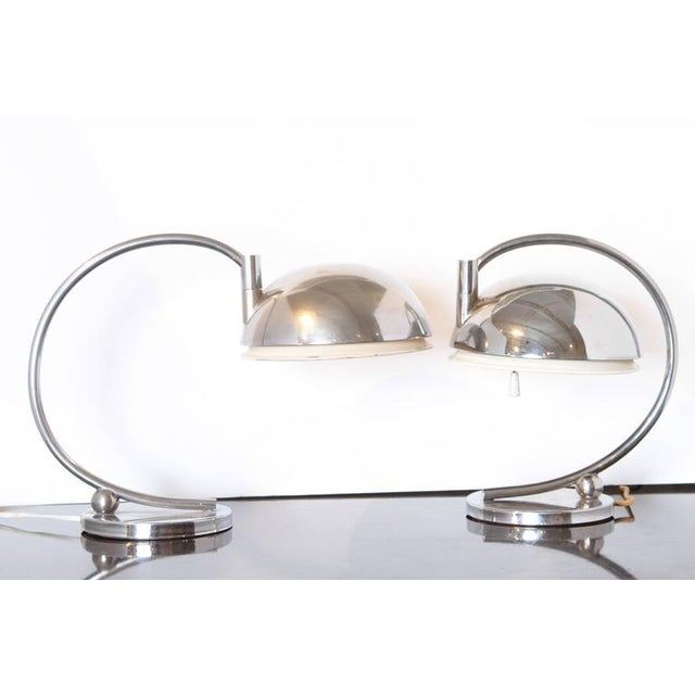 Machine Age Art Deco pair table lamps Matched pair iconic 1930s streamline modernist desk or end table lamps. Fully...